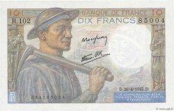 10 Francs MINEUR FRANCE  1945 F.08.14 SPL+
