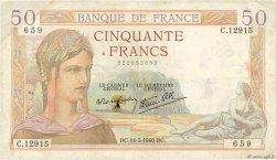 50 Francs CÉRÈS modifié FRANCE  1940 F.18.41 TB
