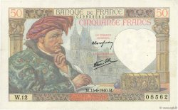 50 Francs JACQUES CŒUR FRANCE  1940 F.19.01 TTB