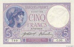 5 Francs VIOLET FRANCE  1917 F.03.01 AU