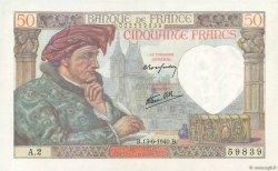 50 Francs JACQUES CŒUR FRANCE  1940 F.19.01 pr.SPL