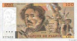 100 Francs DELACROIX modifié FRANCE  1979 F.69.03 SUP
