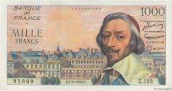 1000 Francs RICHELIEU FRANCE  1955 F.42.15 TTB+