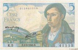 5 Francs BERGER FRANCE  1943 F.05.01 TTB