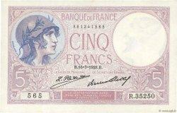 5 Francs VIOLET FRANCE  1928 F.03.12 pr.SPL
