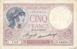 5 Francs VIOLET FRANCE  1933 F.03.17 pr.TTB