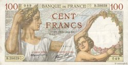 100 Francs SULLY FRANCE  1942 F.26.66 TTB