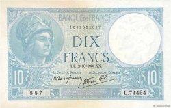 10 Francs MINERVE modifié FRANCE  1939 F.07.11 TTB