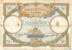 50 Francs LUC OLIVIER MERSON type modifié FRANCE  1932 F.16.03 B
