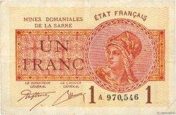 1 Franc MINES DOMANIALES DE LA SARRE FRANCE  1919 VF.51.01 TB