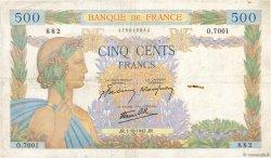 500 Francs LA PAIX FRANCE  1942 F.32.41 TB