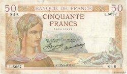 50 Francs CÉRÈS FRANCE  1937 F.17.35 TB