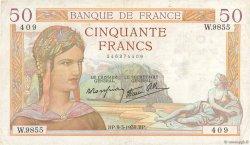 50 Francs CÉRÈS modifié FRANCE  1939 F.18.23 pr.TTB