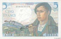 5 Francs BERGER FRANCE  1943 F.05.05 UNC