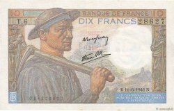 10 Francs MINEUR FRANCE  1942 F.08.03 pr.SUP