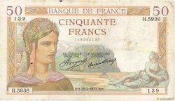 50 Francs CÉRÈS FRANCE  1937 F.17.36 TB