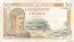 50 Francs CÉRÈS modifié FRANCE  1938 F.18.10 TB