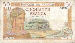 50 Francs CÉRÈS modifié FRANCE  1939 F.18.25 TB