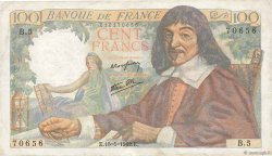 100 Francs DESCARTES FRANCE  1942 F.27.01 TTB