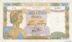 500 Francs LA PAIX FRANCE  1942 F.32.39 pr.TTB