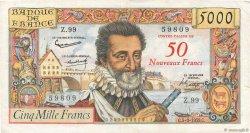 50 NF sur 5000 Francs HENRI IV FRANCE  1959 F.54.02 TB