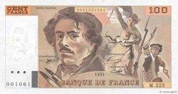 100 Francs DELACROIX  UNIFACE FRANCE  1995 F.69U.07 TTB+