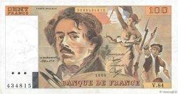 100 Francs DELACROIX modifié FRANCE  1984 F.69.08a SUP