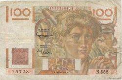 100 Francs JEUNE PAYSAN filigrane inversé FRANCE  1953 F.28bis.03 B+