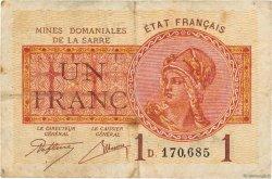 1 Franc MINES DOMANIALES DE LA SARRE FRANCE  1919 VF.51.04 TB