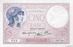 5 Francs VIOLET modifié FRANCE  1939 F.04.02 SPL
