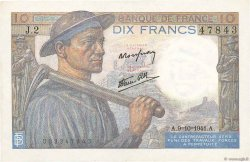 10 Francs MINEUR FRANCE  1941 F.08.02 SUP+
