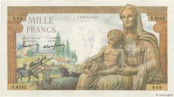 1000 Francs DÉESSE DÉMÉTER FRANCE  1943 F.40.26 TTB