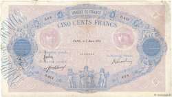 500 Francs BLEU ET ROSE FRANCE  1915 F.30.22 B+