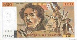 100 Francs DELACROIX modifié FRANCE  1980 F.69.04a pr.SUP