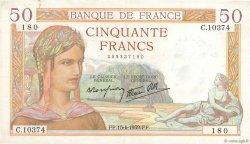 50 Francs CÉRÈS modifié FRANCE  1939 F.18.26 pr.TTB