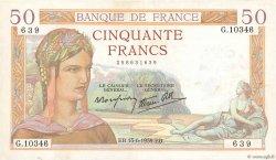 50 Francs CÉRÈS modifié FRANCE  1939 F.18.26 TTB