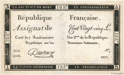 125 Livres FRANCE  1793 Ass.44a TB