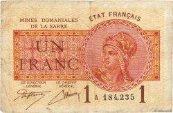 1 Franc MINES DOMANIALES DE LA SARRE FRANCE  1920 VF.51.01 pr.TB