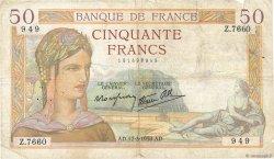 50 Francs CÉRÈS modifié FRANCE  1938 F.18.10 pr.TB