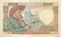 50 Francs JACQUES CŒUR FRANCE  1941 F.19.08 TTB