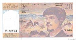 20 Francs DEBUSSY à fil de sécurité FRANCE  1990 F.66bis.01