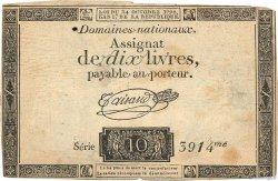 10 Livres filigrane royal FRANCE  1792 Ass.36a TB