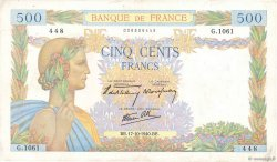 500 Francs LA PAIX  FRANCE  1940 F.32.07 VF