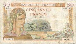 50 Francs CÉRÈS modifié FRANCE  1937 F.18.01 pr.TB