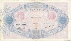 500 Francs BLEU ET ROSE FRANCE  1936 F.30.37 TB