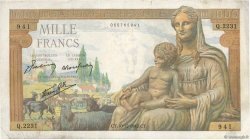 1000 Francs DÉESSE DÉMÉTER FRANCE  1942 F.40.13 TB