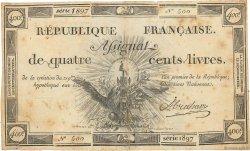 400 Livres FRANCE  1792 Ass.38a TB