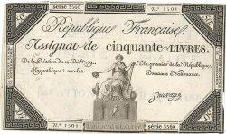 50 Livres FRANCE  1792 Ass.39a pr.TTB