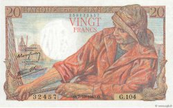 20 Francs PÊCHEUR FRANCE  1943 F.13.07 pr.SPL
