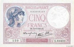 5 Francs VIOLET modifié FRANCE  1939 F.04.08 pr.SPL